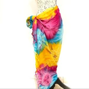 Beach Sarong Tie Dye Fringes Pareo Cover Up Wrap